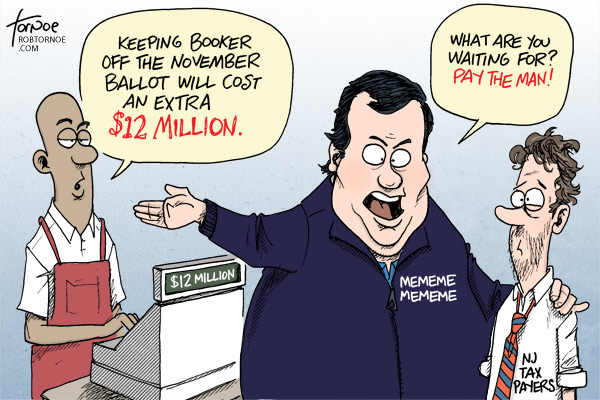 Chris Christie special election $12 million tornoe cartoon