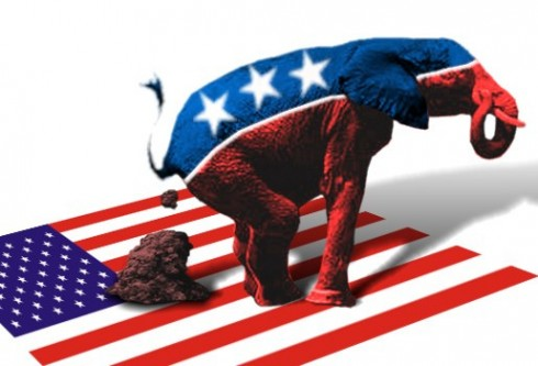 GOP Elephant dumps on a US flag