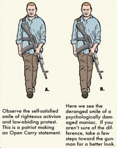 Left=Open-Carry Patriot.  Right=Deranged Idiot with a Gun.  (The two images are identical.)